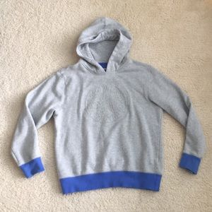 Converse grey hoodie with blue wrists and hem